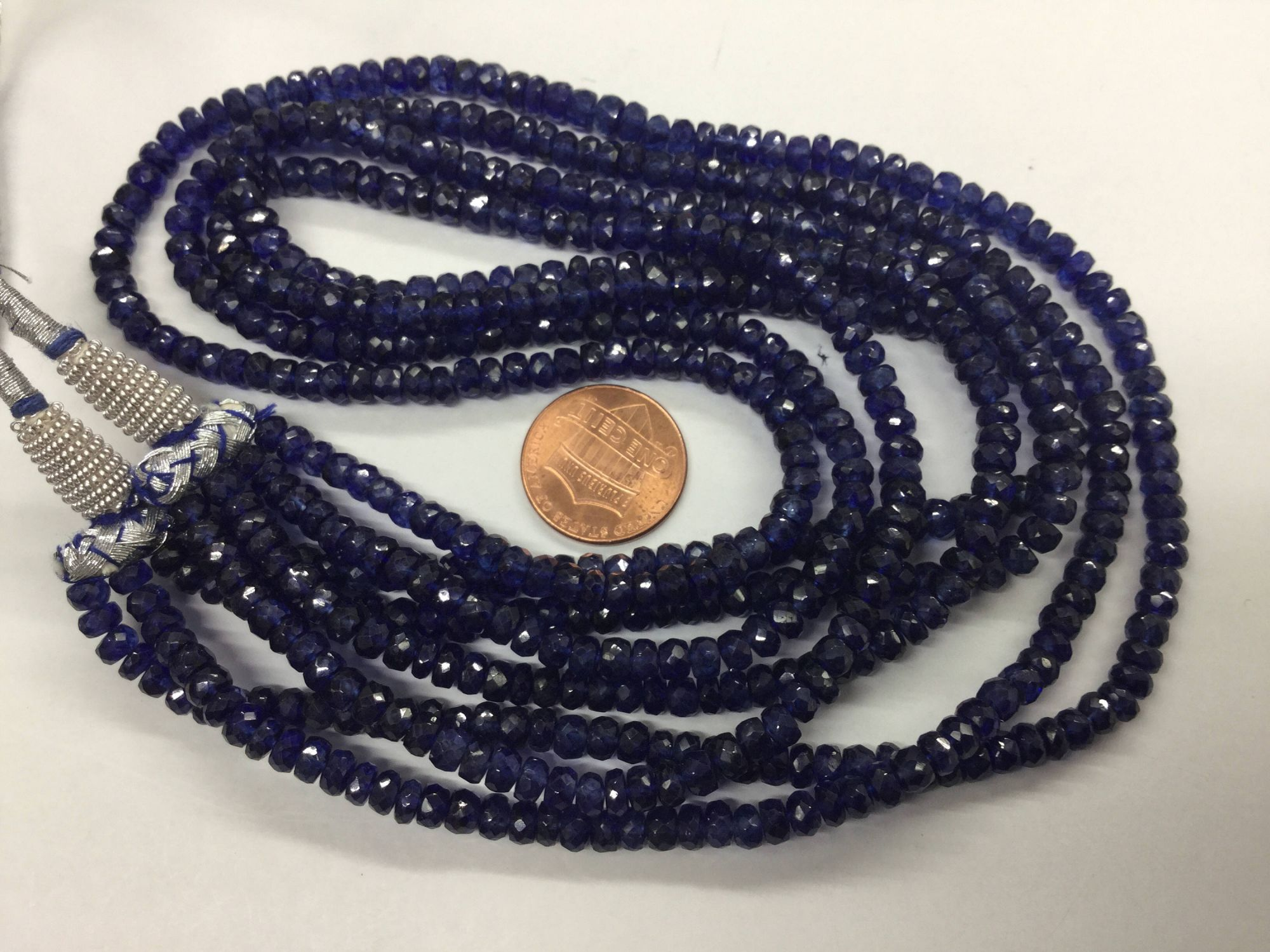 Natural Blue Sapphire Rondelles Faceted