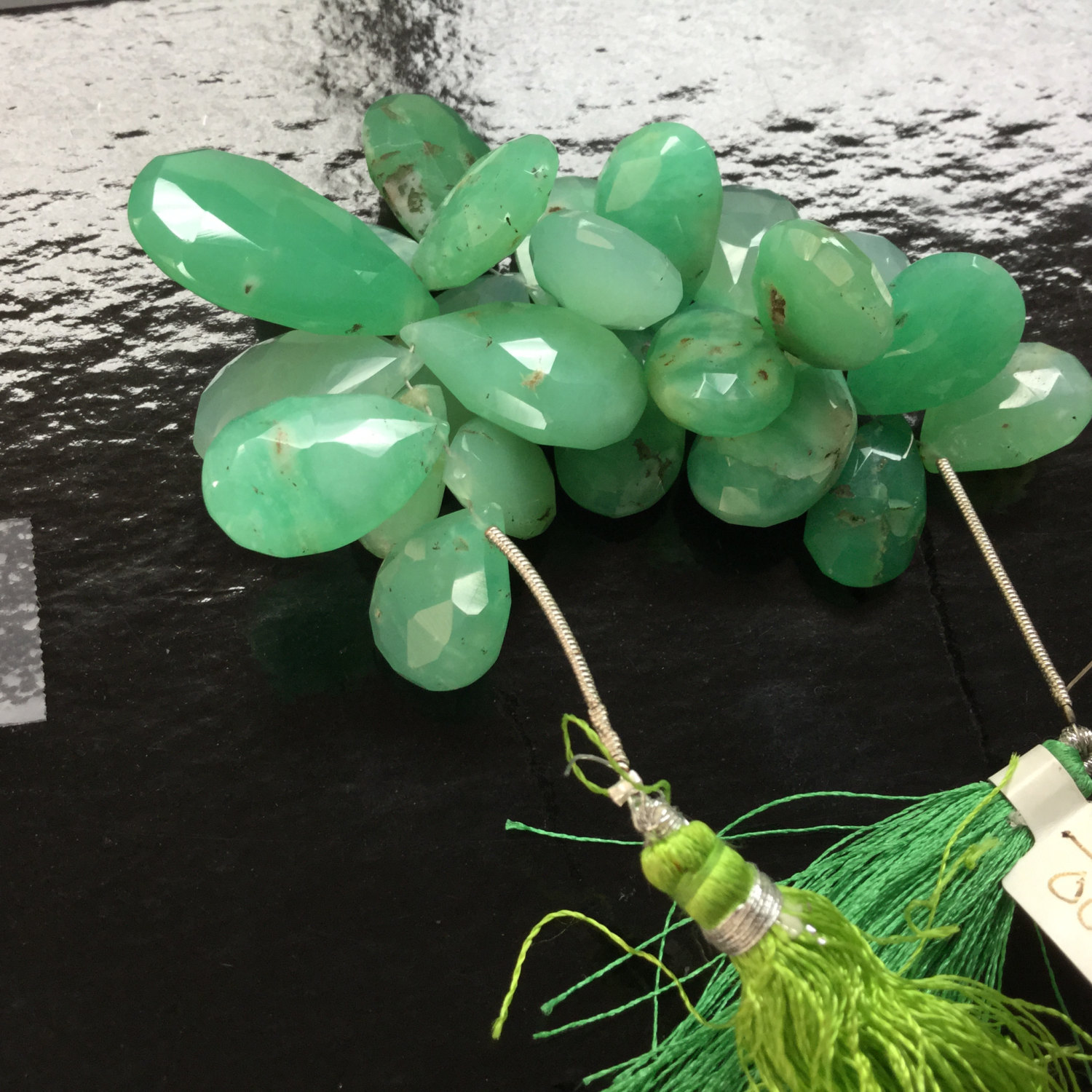Natural Chrysoprase Pears Faceted