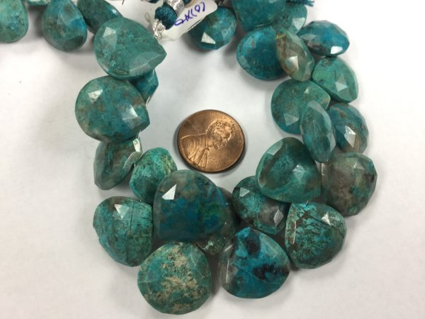 Natural Chrysocolla Hearts Faceted