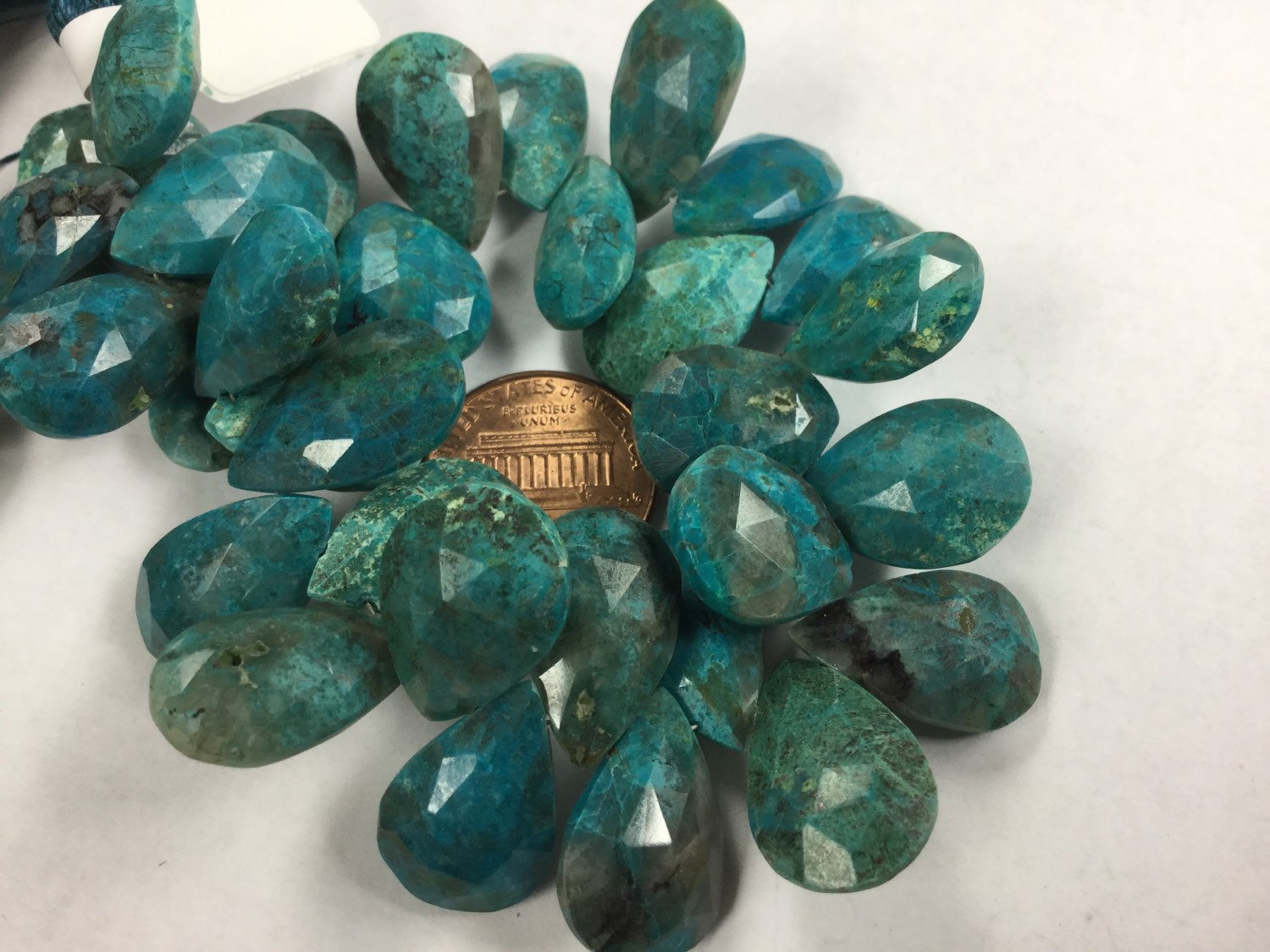 Natural Chrysocolla Pears Faceted