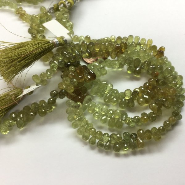 Natural Green Garnet Drops Faceted