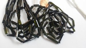 Natural Green Tourmaline Tubes Faceted