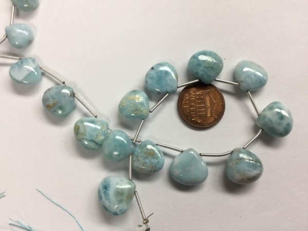 Natural Larimar Hearts Smooth
