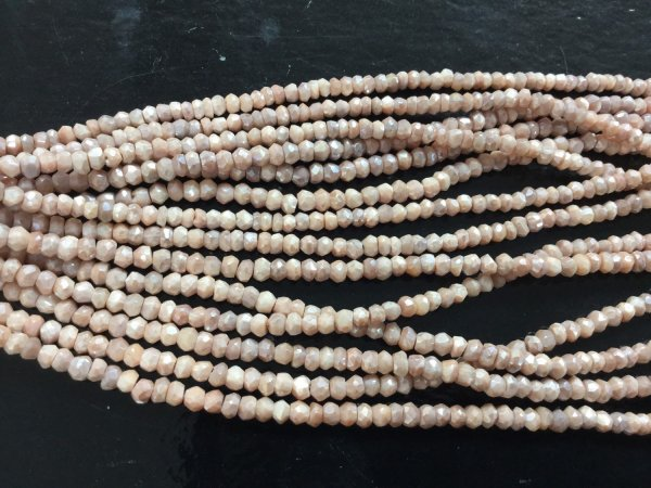 Natural Light Peach Moonstone Rondelles Faceted (Coated)