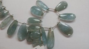 Natural Moss Aquamarine Pears Faceted