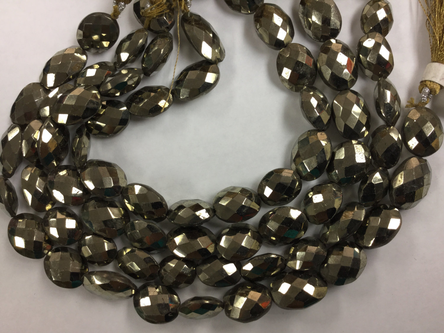 Natural Pyrite Ovals Faceted