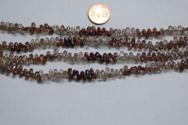 Natural Shaded Brown Zircon Small Drops Faceted