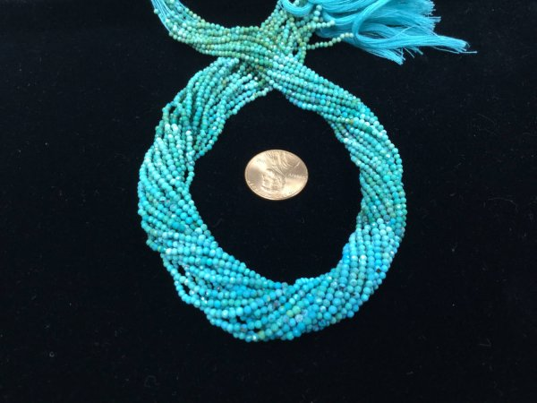 Natural Shaded Turquoise Rondelles Faceted