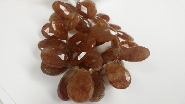 Natural Sunstone Pears Faceted