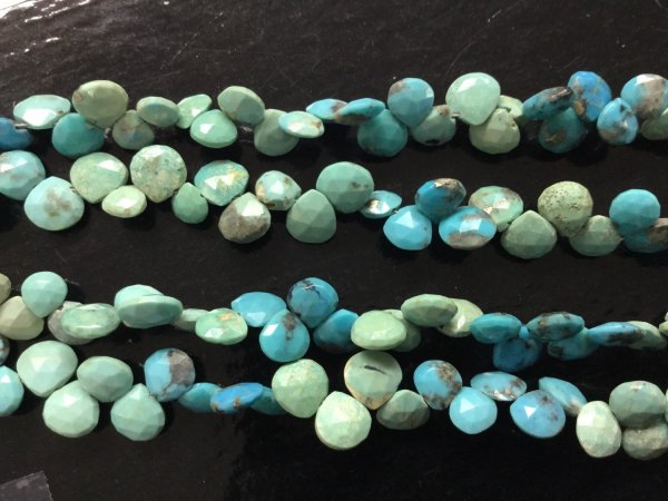 Natural Turquoise Hearts Faceted