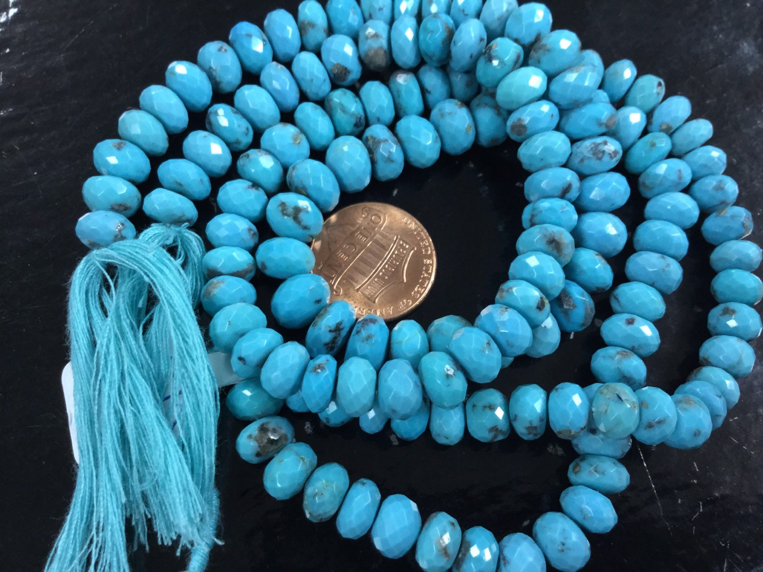 Natural Turquoise Rondelles Faceted