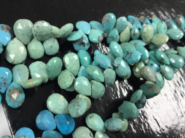 Natural Turquoise Shaded Pears Faceted