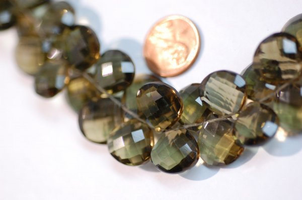 Olive Color Hearts Hydro Quartz Faceted