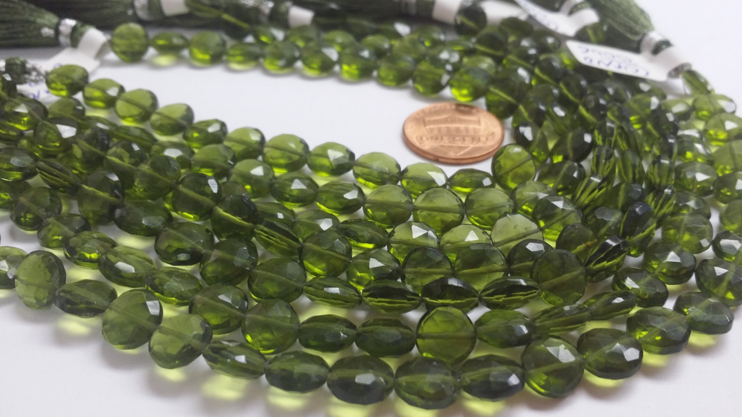 Olive Green Coins Faceted