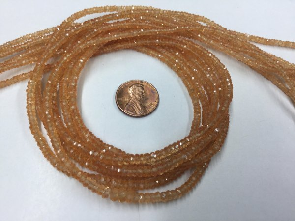 Orange Sapphire Rondelles Faceted