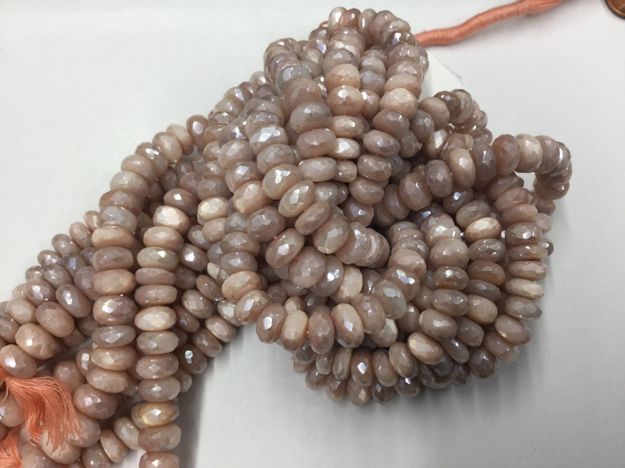 Peach Moonstone Rondelles Faceted Coated