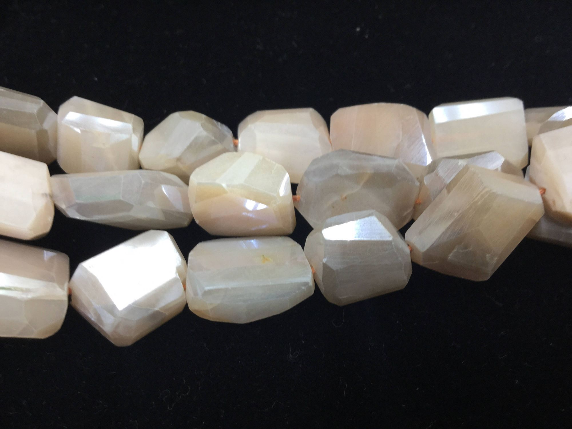 Peach-Cream Moonstone Nuggets Faceted