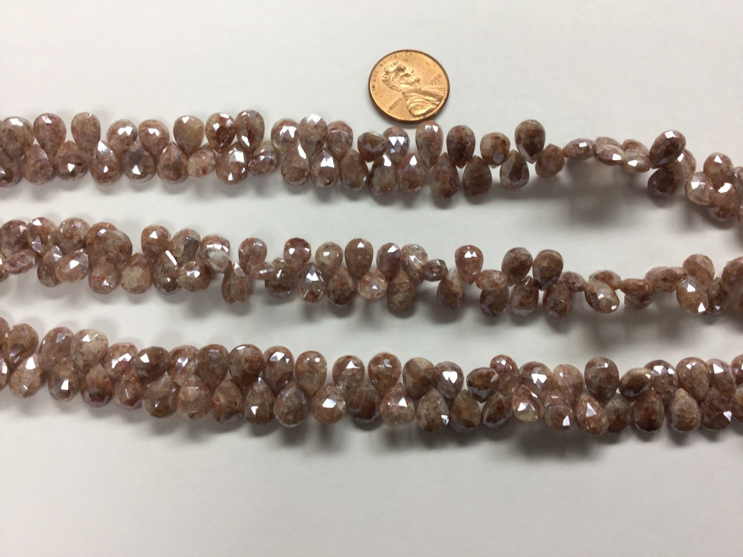 Peach Moonstone Drops Coated