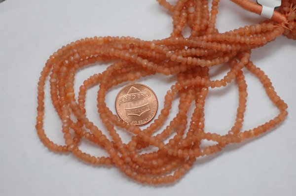 Peach Moonstone Rondelle Faceted