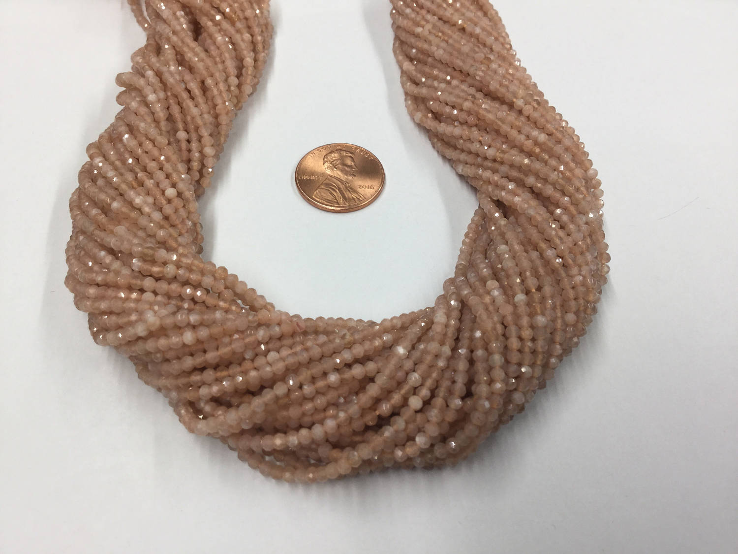 Peach Moonstone Rondelles Faceted