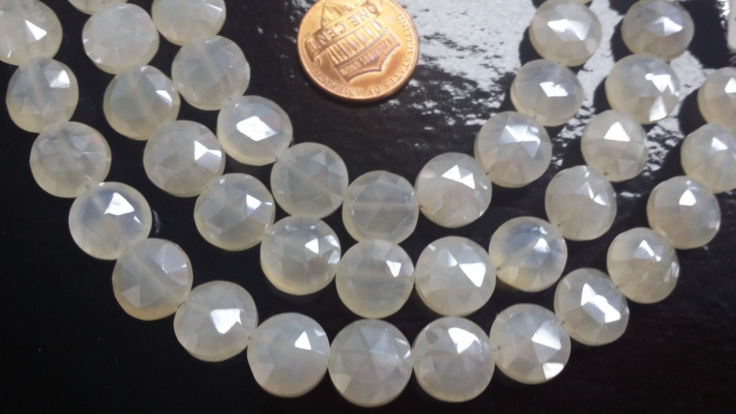 Pearl White Chalcedony Coins Faceted