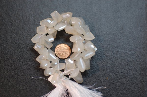 Pearl White Chalcedony Funky Cut Faceted