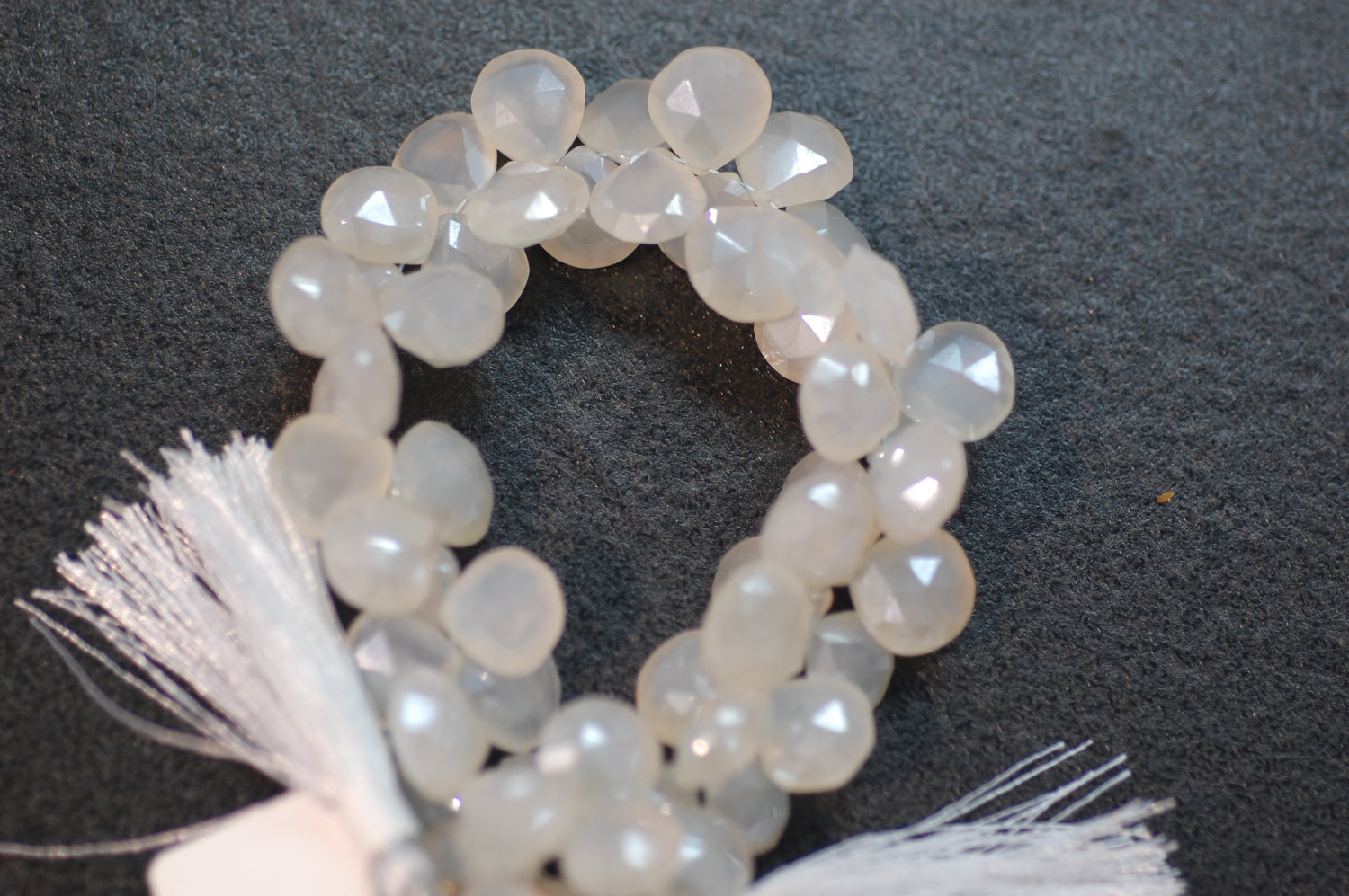 Pearl White Chalcedony Heart Faceted