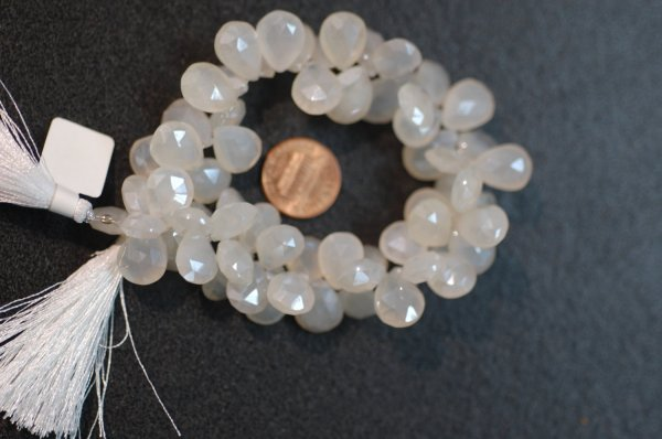 Pearl White Chalcedony Pear Faceted
