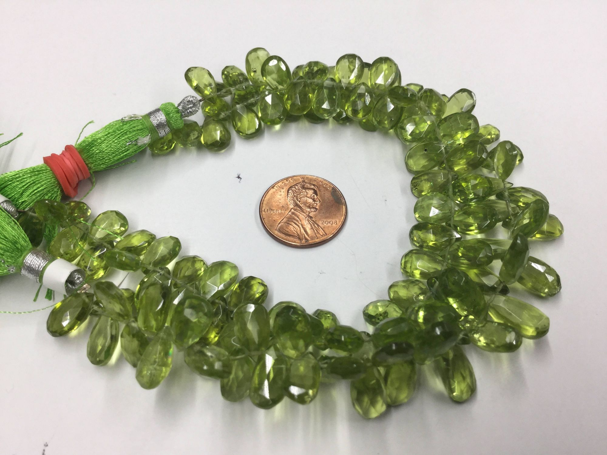 Peridot Pears Faceted