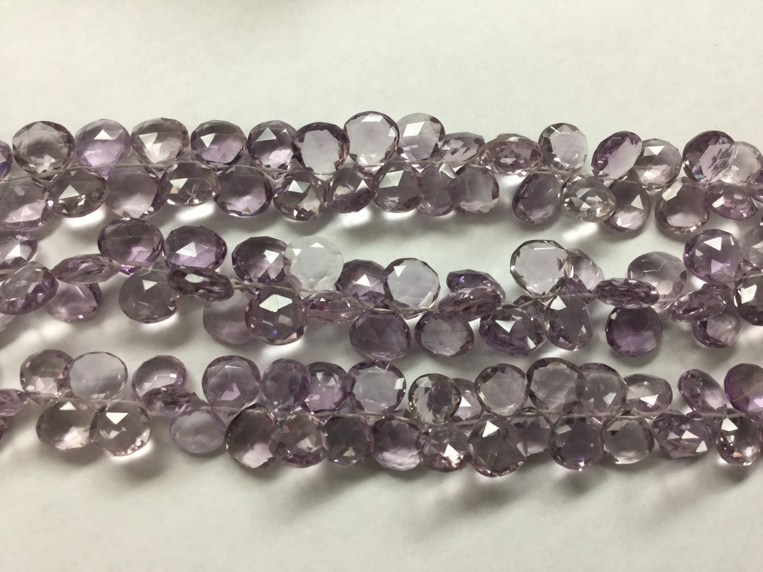 Pink Amethyst Hydro Quartz Hearts Faceted