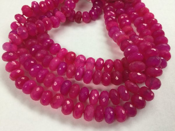 Pink Chalcedony Rondelles Faceted