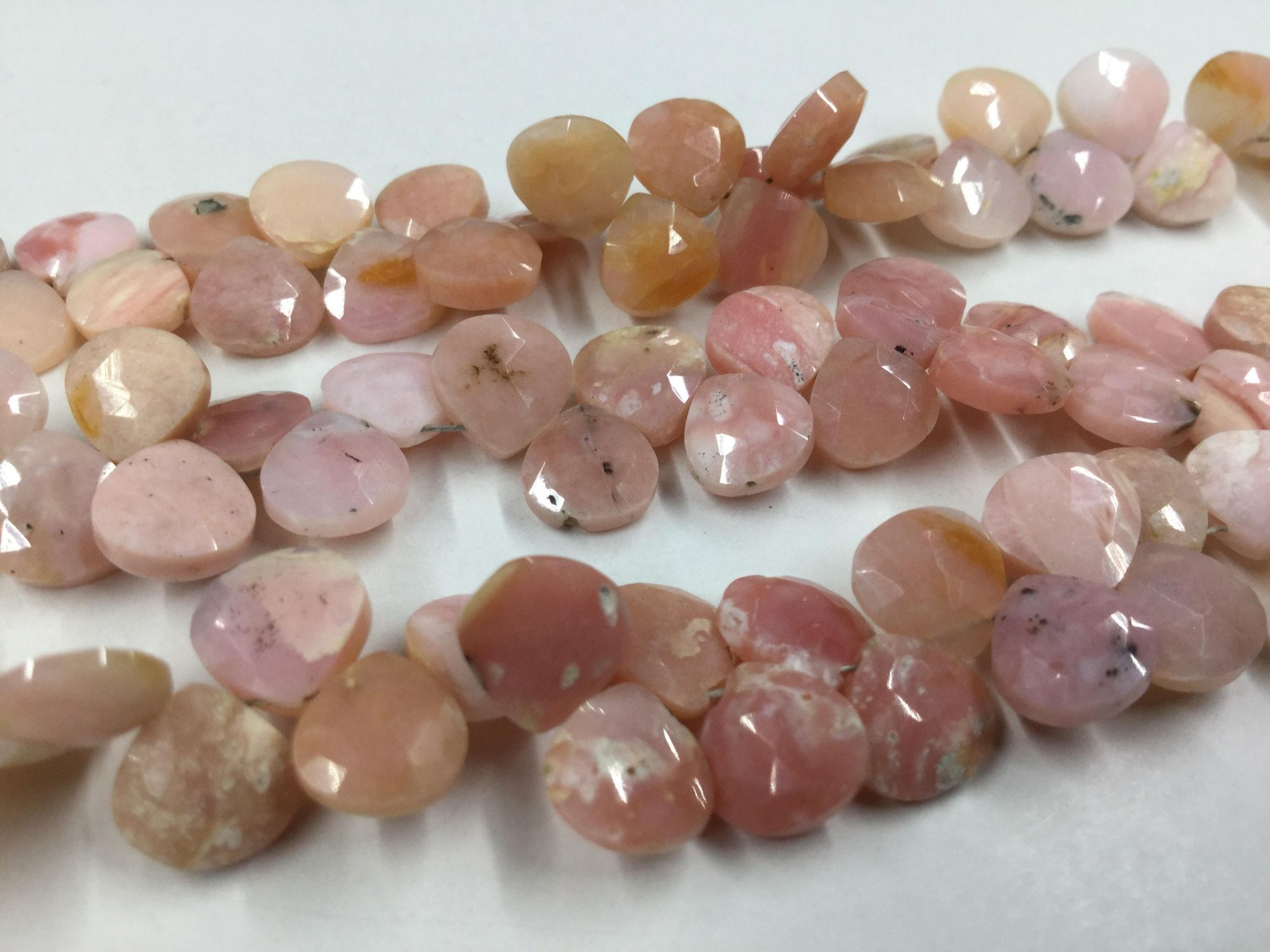 Pink Opal Hearts Faceted