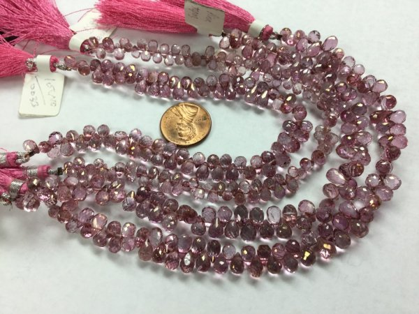 Pink Topaz Drops Faceted