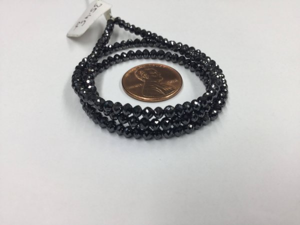 Precious Black Diamonds Rondelles Faceted