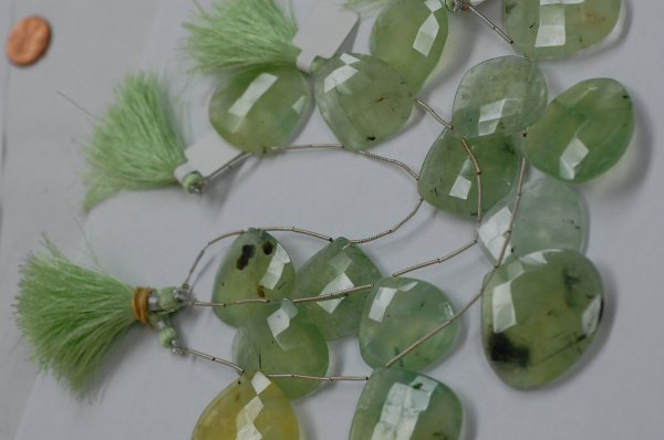 Prehnite Hearts Faceted