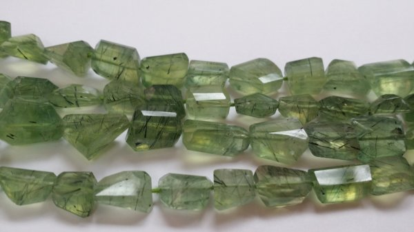 Prehnite Nuggets Faceted