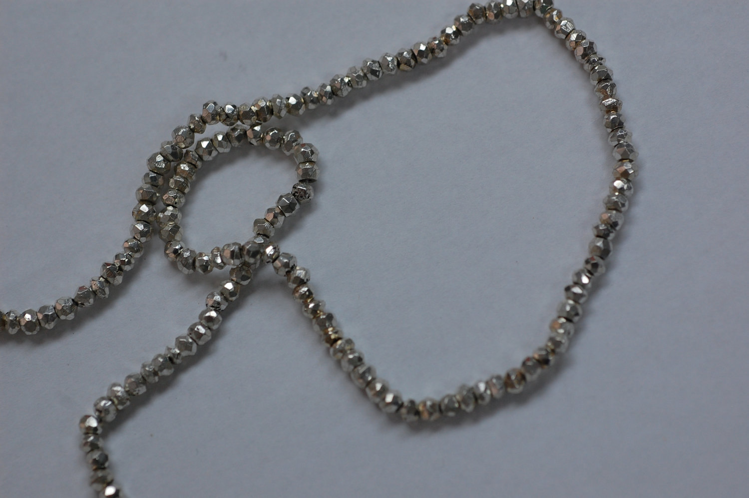 Pyrite Rondelle Silver Coated