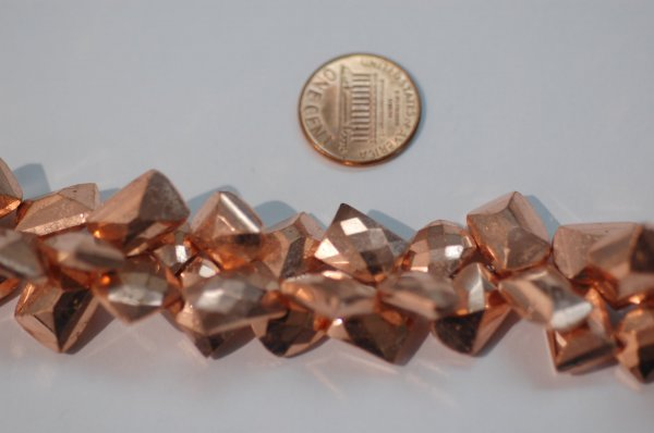 Rose Gold Pyrite Coated Funky Cut Faceted