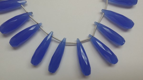 Royal Blue Chalcedony Long Drops Faceted Heated