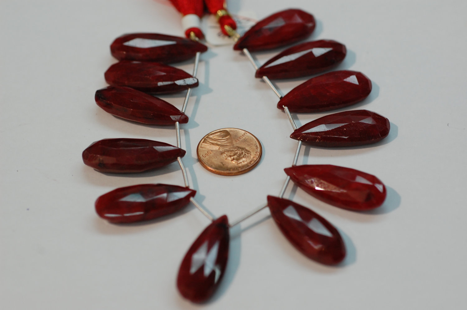 Ruby Long Pear Faceted