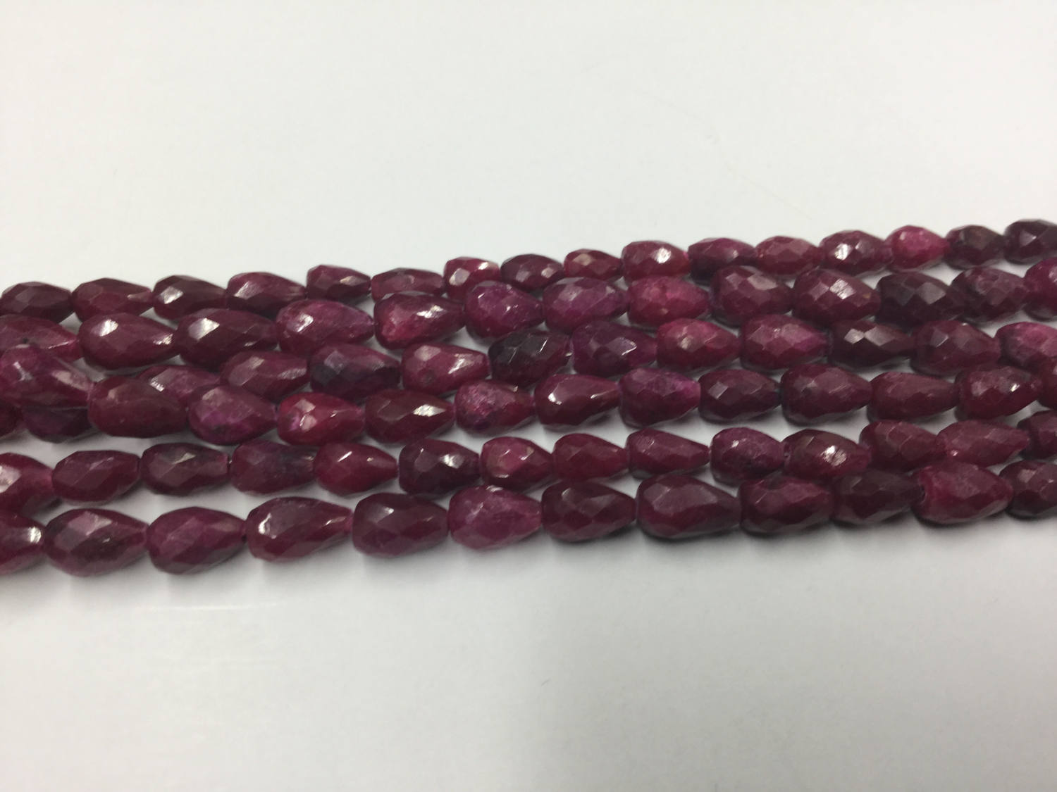 Ruby Straight Drill Drops Faceted