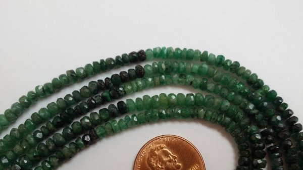 Shaded Emerald Natural Rondelles