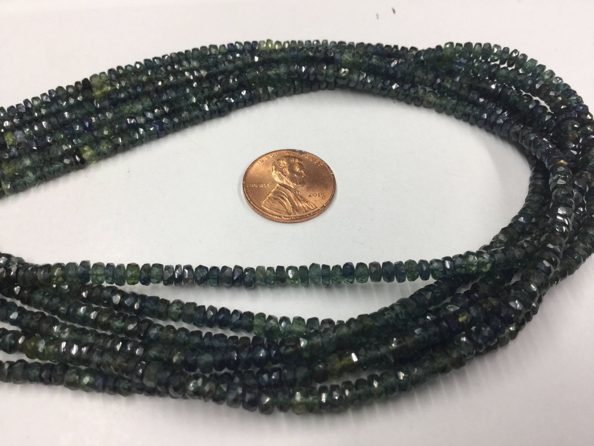 Shaded Green Blue Sapphire Rondelles Faceted