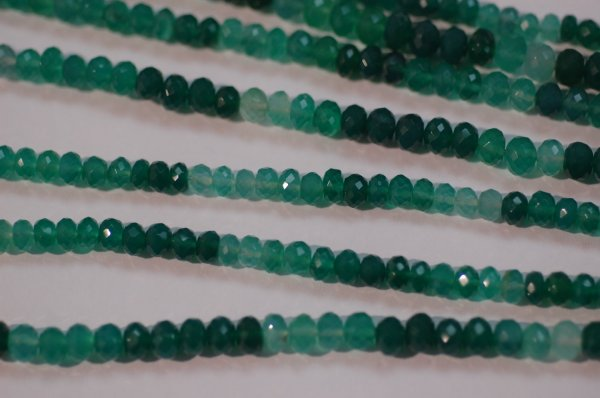 Shaded Green Onyx Rondelle Faceted