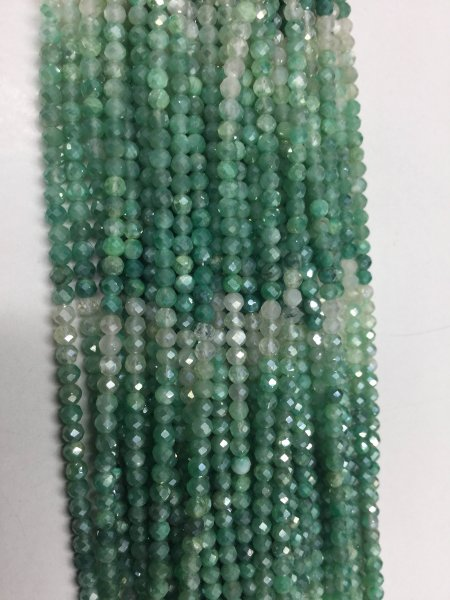 Shaded Mystic Green Onyx Rondelles Faceted