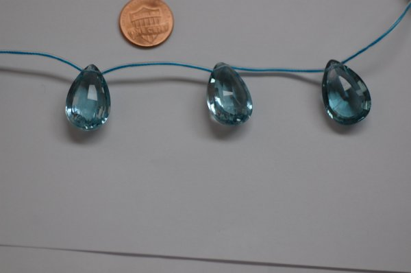 Sky Blue Quartz Pear Concave Cut (Radiated)