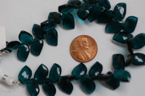 Teal Blue Hydro Quartz Leaf Shape Faceted