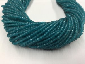 Teal Blue Onyx Rondelles Faceted