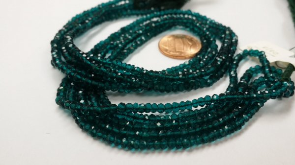 Teal Green Faceted Rondelle