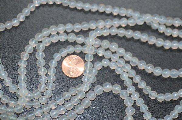 Transparent Blue Chalcedony Smooth Round Beads